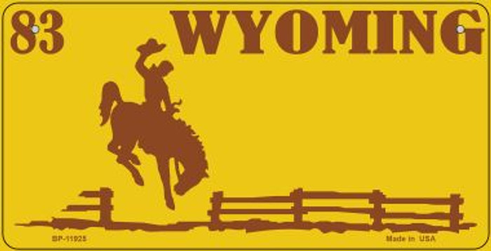 Wyoming Yellow State Background Blank Novelty Metal Bicycle Plate BP-11925