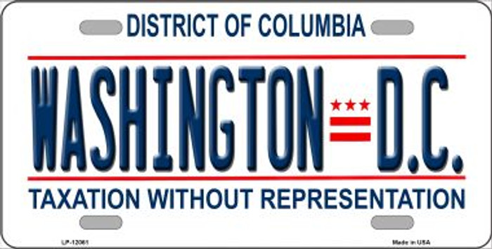 District Of Columbia State Background Novelty Metal License Plate LP-12061