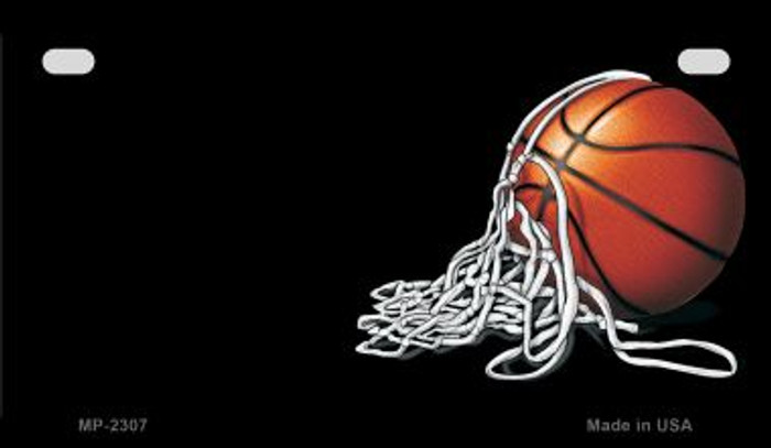 Basketball and Net Offset Novelty Metal Motorcycle Plate MP-2307