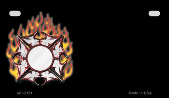 Fire Maltese Cross Offset Novelty Metal Motorcycle Plate MP-2321