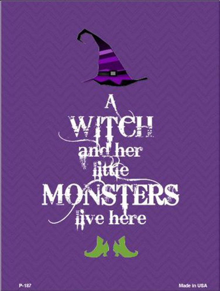 Witch And Monsters Metal Novelty Parking Sign P-187