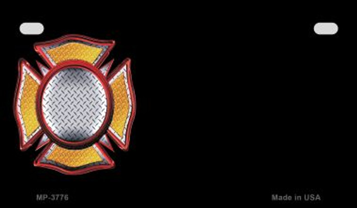 Fire Maltese Cross Offset Novelty Metal Motorcycle Plate MP-3776