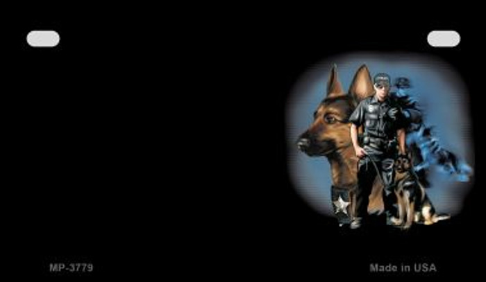 Police Dog Offset Novelty Metal Motorcycle Plate MP-3779