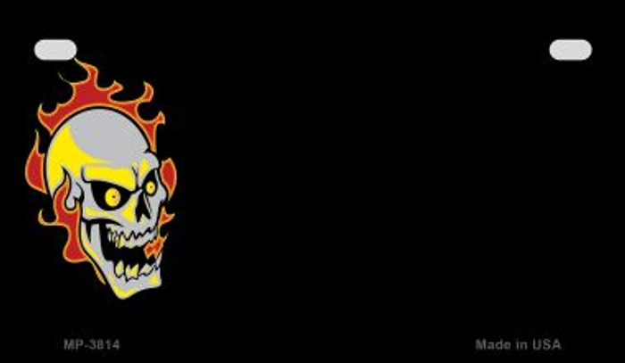 Skull Flame Offset Novelty Metal Motorcycle Plate MP-3814