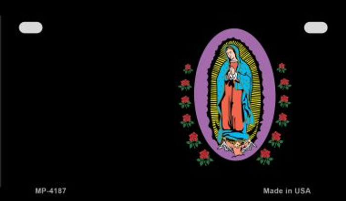 Virgin Mary Black Offset Novelty Metal Motorcycle Plate MP-4187