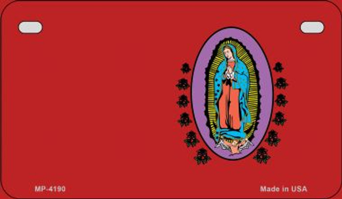 Virgin Mary Red Offset Novelty Metal Motorcycle Plate MP-4190