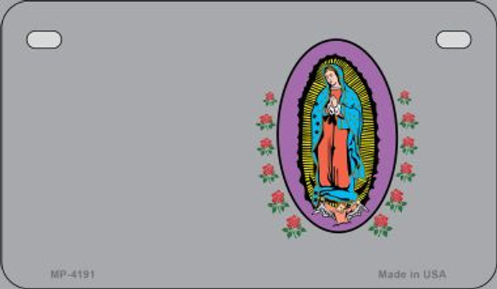Virgin Mary Gray Offset Novelty Metal Motorcycle Plate MP-4191