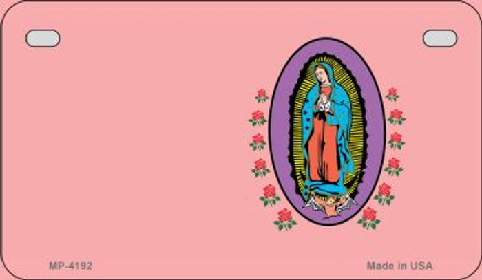 Virgin Mary Pink Offset Novelty Metal Motorcycle Plate MP-4192
