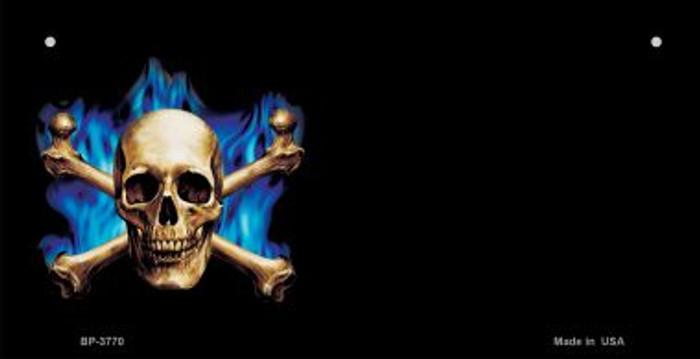 Skull Offset Novelty Metal Bicycle Plate BP-3770