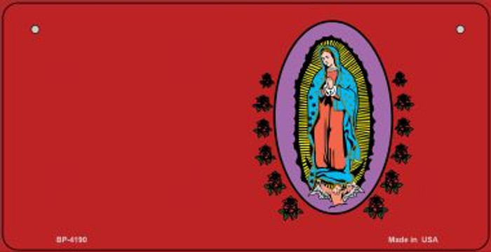 Virgin Mary Red Offset Novelty Metal Bicycle Plate BP-4190