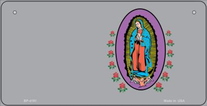 Virgin Mary Gray Offset Novelty Metal Bicycle Plate BP-4191