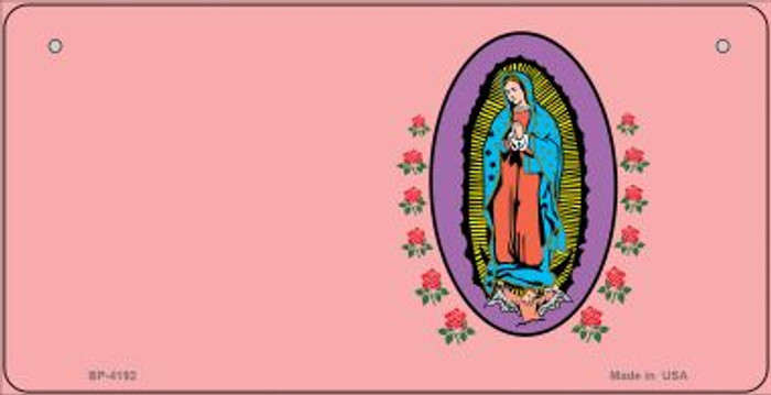 Virgin Mary Pink Offset Novelty Metal Bicycle Plate BP-4192