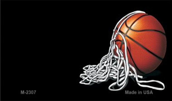 Basketball and Net Offset Novelty Metal Magnet M-2307