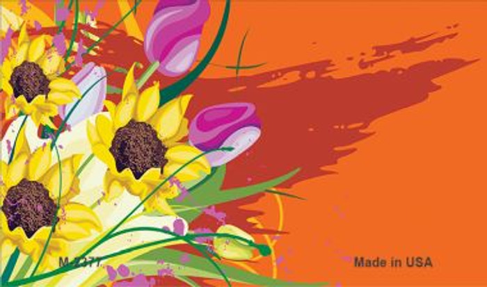 Flowers Orange Offset Novelty Metal Magnet M-2377