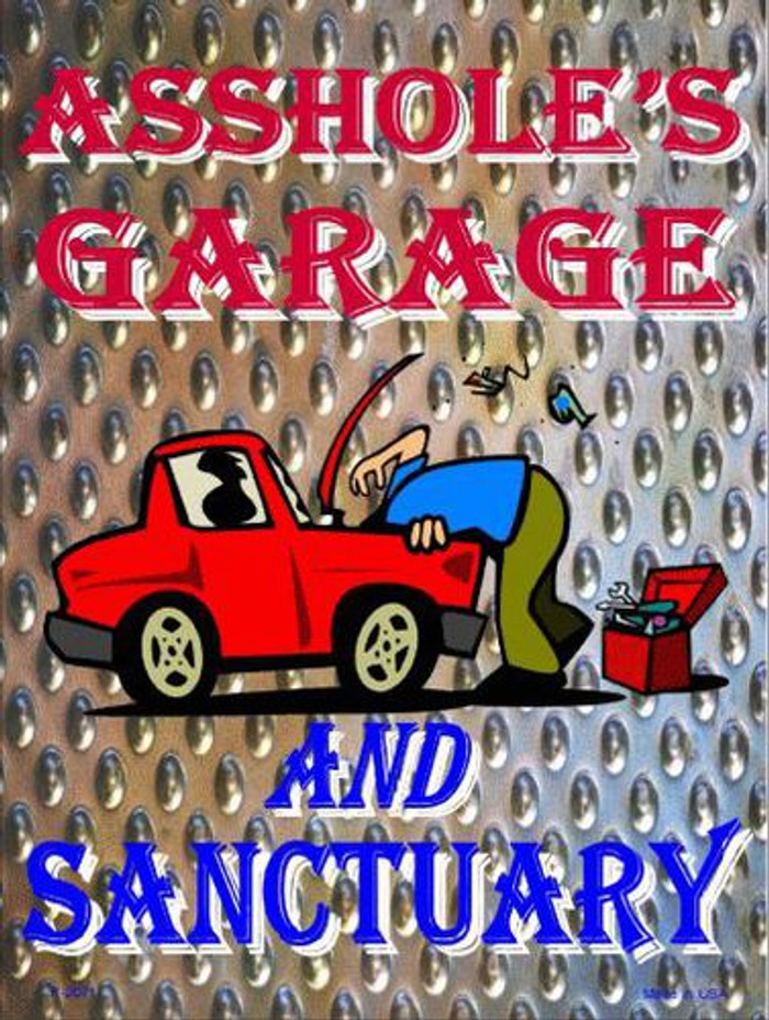 Garage And Sanctuary Metal Novelty Parking Signs