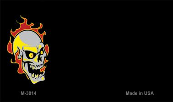 Skull Flame Offset Novelty Metal Magnet M-3814