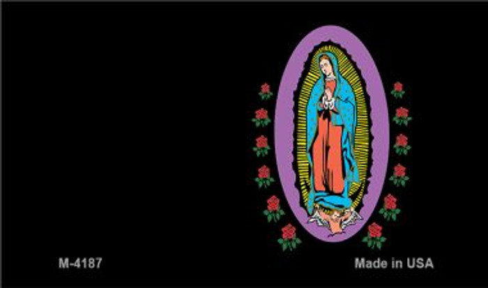 Virgin Mary Black Offset Novelty Metal Magnet M-4187