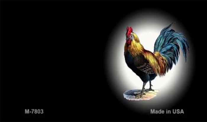Rooster Black Offset Novelty Metal Magnet M-7803
