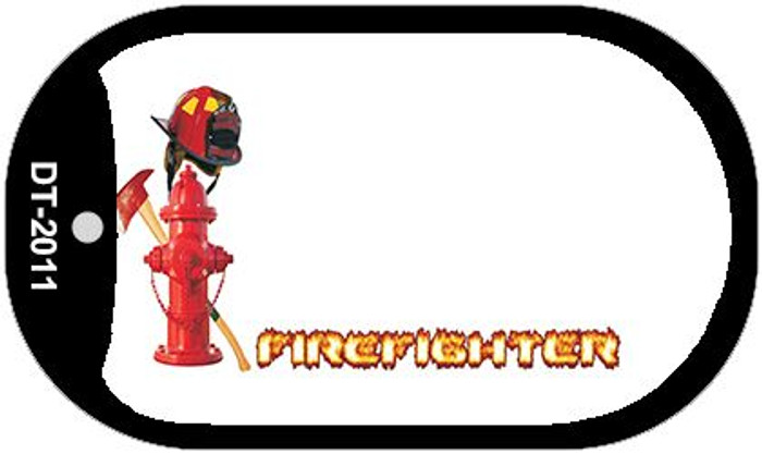 Firefighter Offset Novelty Metal Dog Tag Necklace DT-2011