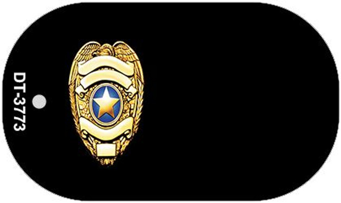 Police Badge Offset Novelty Metal Dog Tag Necklace DT-3773