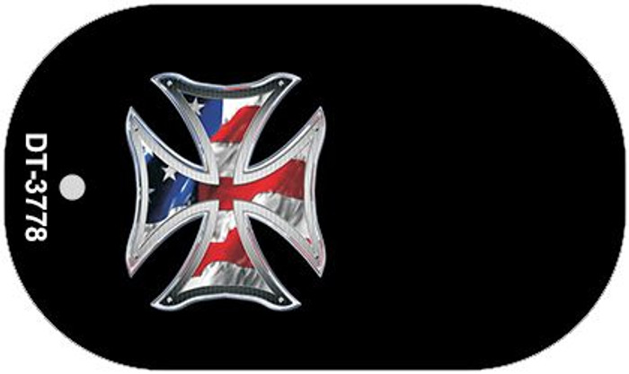 Patriotic Maltese Cross Offset Novelty Metal Dog Tag Necklace DT-3778