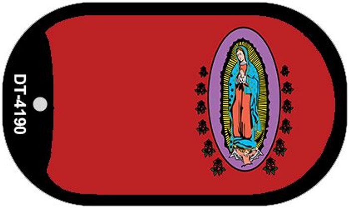 Virgin Mary Red Offset Novelty Metal Dog Tag Necklace DT-4190