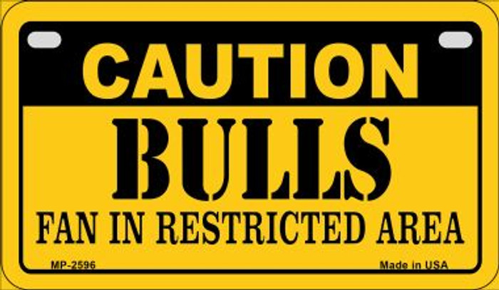 Caution Bulls Fan Area Novelty Metal Motorcycle Plate MP-2596