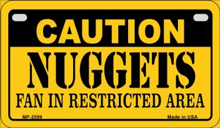 Caution Nuggets Fan Area Novelty Metal Motorcycle Plate MP-2599