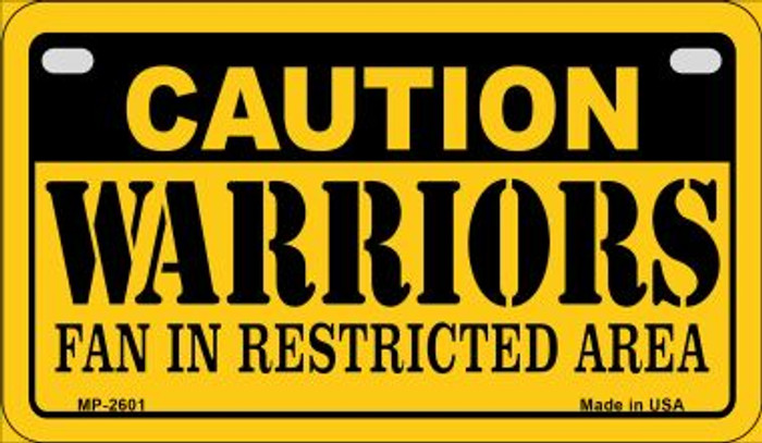 Caution Warriors Fan Area Novelty Metal Motorcycle Plate MP-2601
