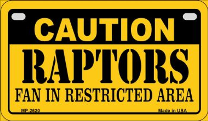 Caution Raptors Fan Area Novelty Metal Motorcycle Plate MP-2620