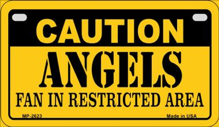 Caution Angels Fan Area Novelty Metal Motorcycle Plate MP-2623