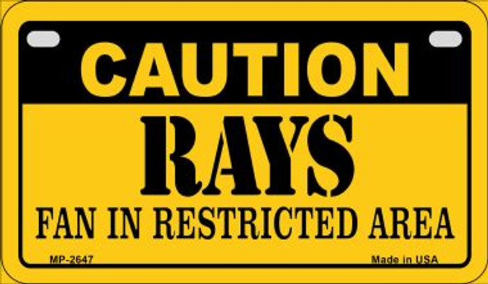 Caution Rays Fan Area Novelty Metal Motorcycle Plate MP-2647