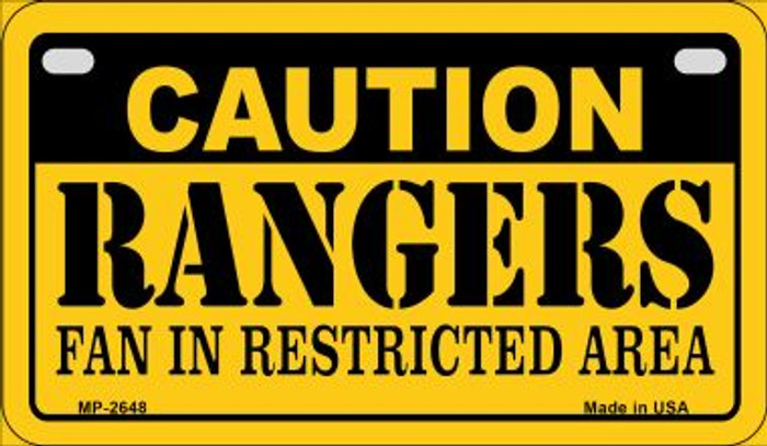 Caution Rangers Fan Area Novelty Metal Motorcycle Plate MP-2648