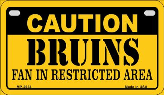 Caution Bruins Fan Area Novelty Metal Motorcycle Plate MP-2654