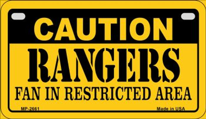 Caution Rangers Fan Area Novelty Metal Motorcycle Plate MP-2661