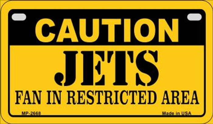 Caution Jets Fan Area Novelty Metal Motorcycle Plate MP-2668