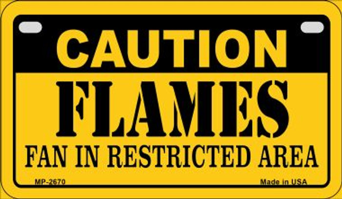 Caution Flames Fan Area Novelty Metal Motorcycle Plate MP-2670