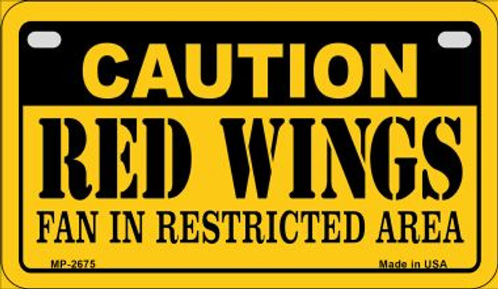 Caution Red Wings Fan Area Novelty Metal Motorcycle Plate MP-2675