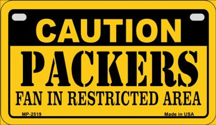 Caution Packers Fan Area Novelty Metal Motorcycle Plate MP-2519