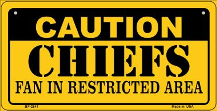 Caution Chiefs Fan Area Novelty Metal Motorcycle Plate MP-2541