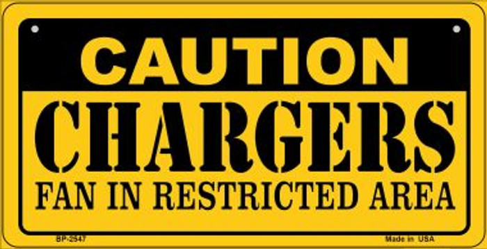 Caution Chargers Fan Area Novelty Metal Motorcycle Plate MP-2547