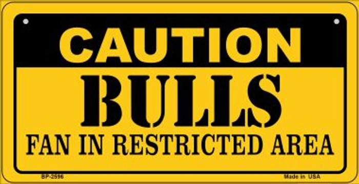 Caution Bulls Fan Area Novelty Metal Bicycle Plate BP-2596