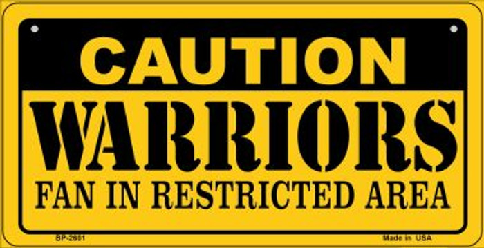 Caution Warriors Fan Area Novelty Metal Bicycle Plate BP-2601