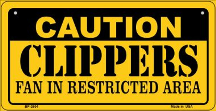 Caution Clippers Fan Area Novelty Metal Bicycle Plate BP-2604