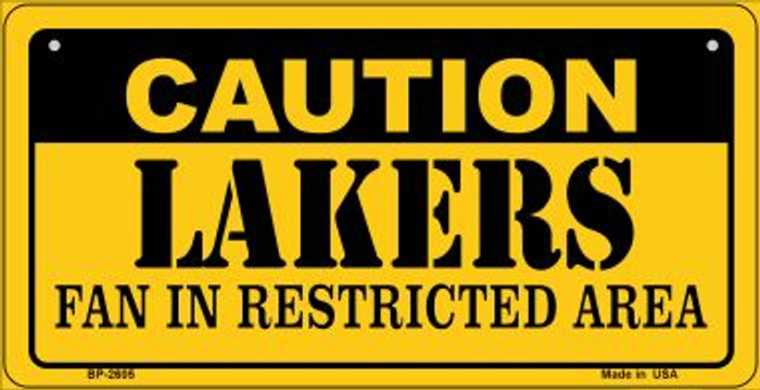 Caution Lakers Fan Area Novelty Metal Bicycle Plate BP-2605
