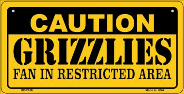 Caution Grizzlies Fan Area Novelty Metal Bicycle Plate BP-2606