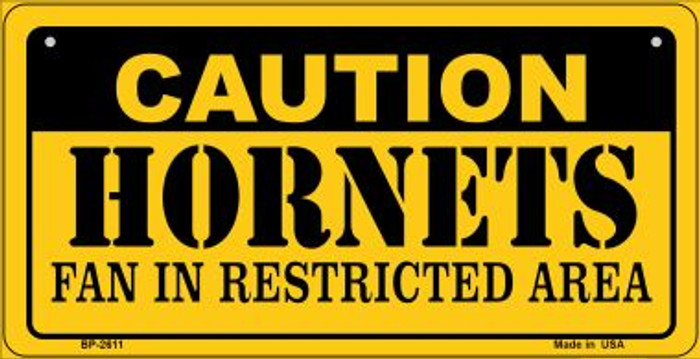 Caution Hornets Fan Area Novelty Metal Bicycle Plate BP-2611