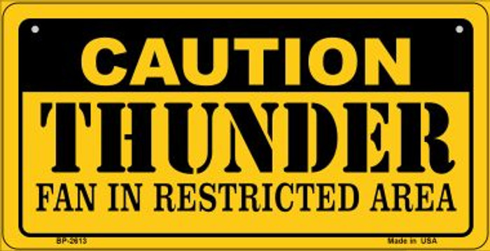 Caution Thunder Fan Area Novelty Metal Bicycle Plate BP-2613