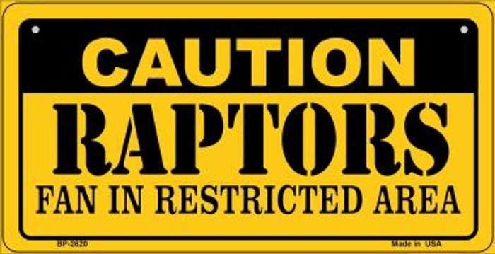 Caution Raptors Fan Area Novelty Metal Bicycle Plate BP-2620