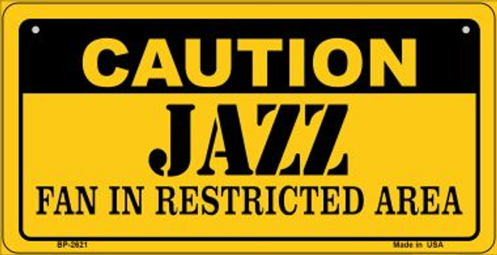 Caution Jazz Fan Area Novelty Metal Bicycle Plate BP-2621